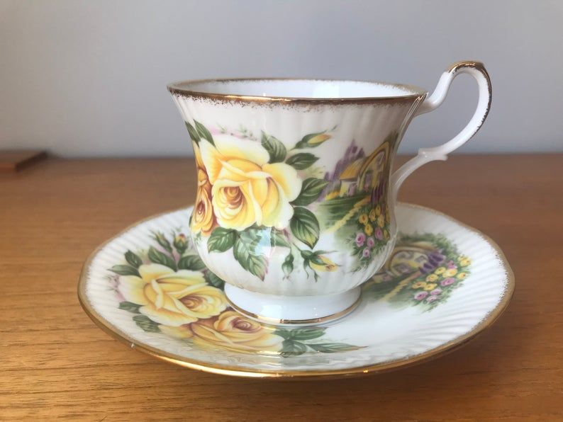 Queens Rosina Cottage Tea Cup and Saucer, Yellow Rose Teacup and Saucer, Bone China