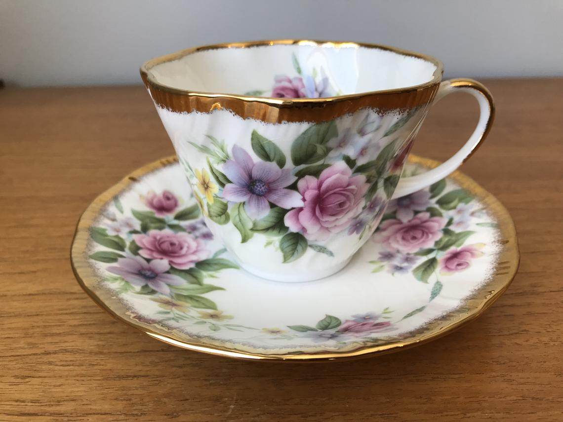 Queens Rosina Flower Teacup and Saucer, Floral English Bone China Vintage Tea Cup and Saucer