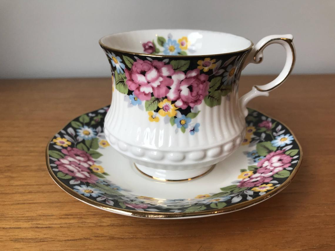 Queens Rosina Oxford Vintage Teacup and Saucer, Colourful Flower Black Background Tea Cup and Saucer, Floral English Bone China