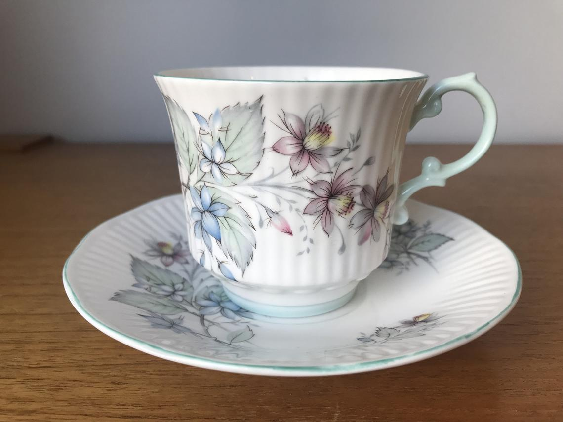Queens Rosina Tea Cup and Saucer, Pastel Blue and Pink Flower China Teacup and Saucer