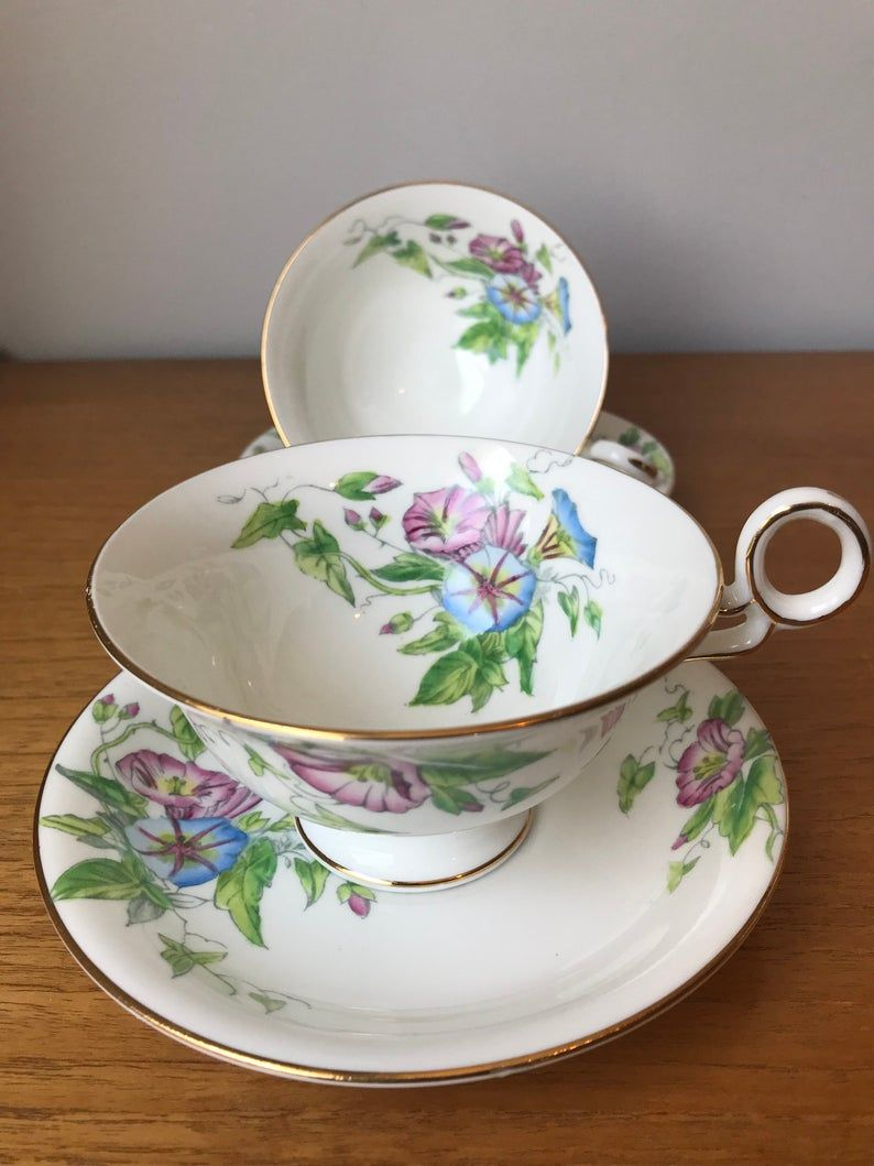 Radfords Fenton Westbury Teacups and Saucers, Blue and Pink Morning Glory, Flower Tea Cups and Saucers, Floral Bone China, 1930s Tea Set
