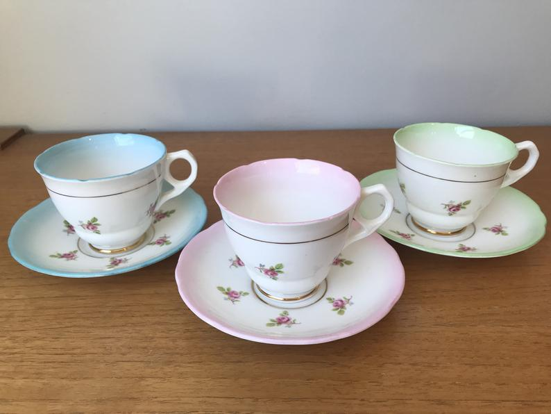 Rainbow Tea Set, Ditsy Rose Tea Cups and Saucers, Green Pink and Blue Teacups and Saucers, Bone China Tea Party
