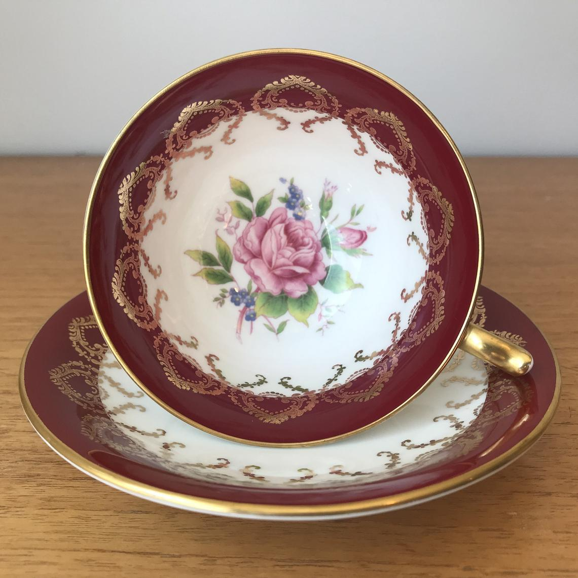 Red Aynsley China Tea Cup and Saucer, Pink Rose Teacup and Saucer