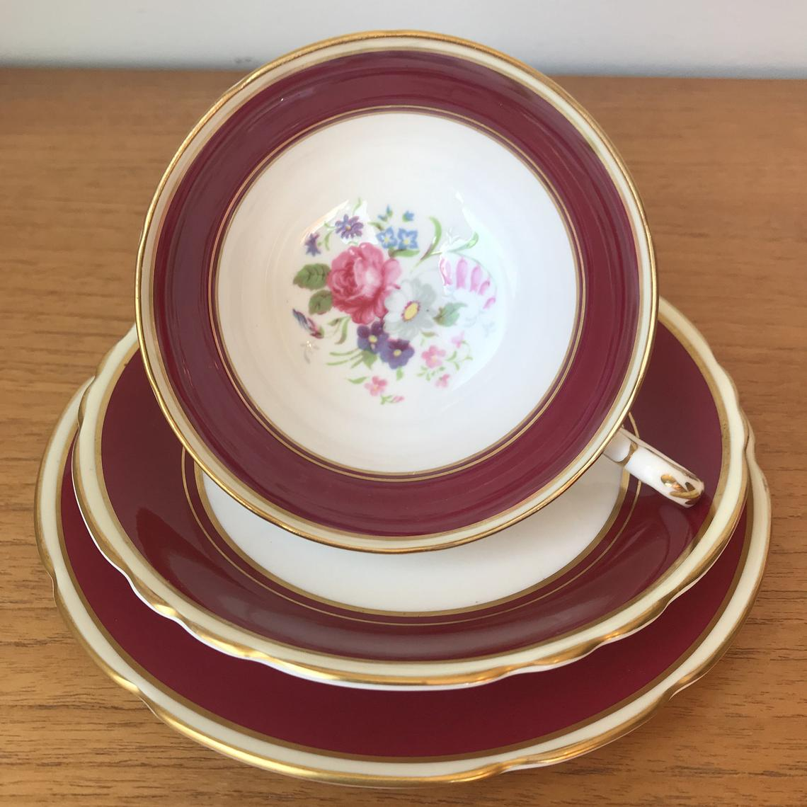 Red Paragon Tea Cup Trio, Vintage Floral Teacup Saucer and Side Plate, Flower Bone China, Red Dark Pink set, 1950s