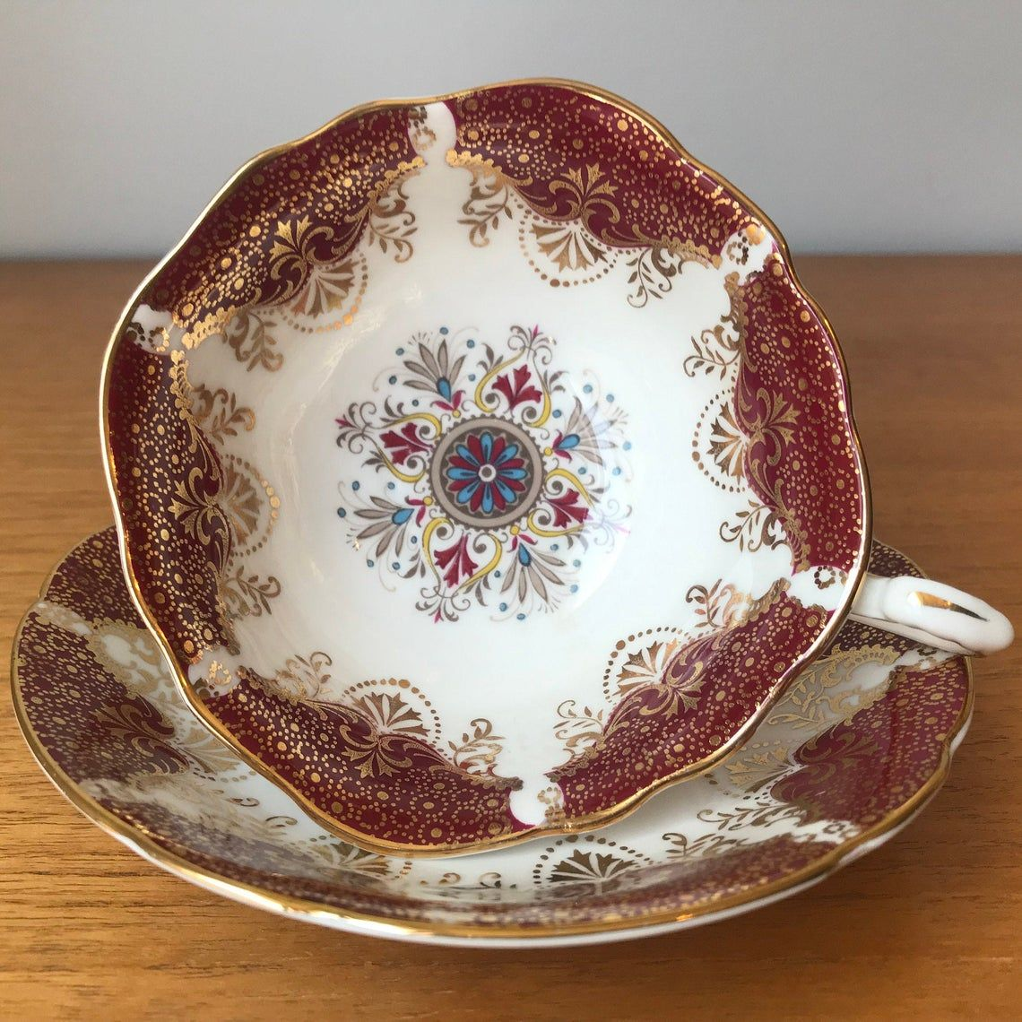 Red Paragon Tea Cup and Saucer, Bone China Teacup and Saucer, Red Blue Gold Medallion, 1960s