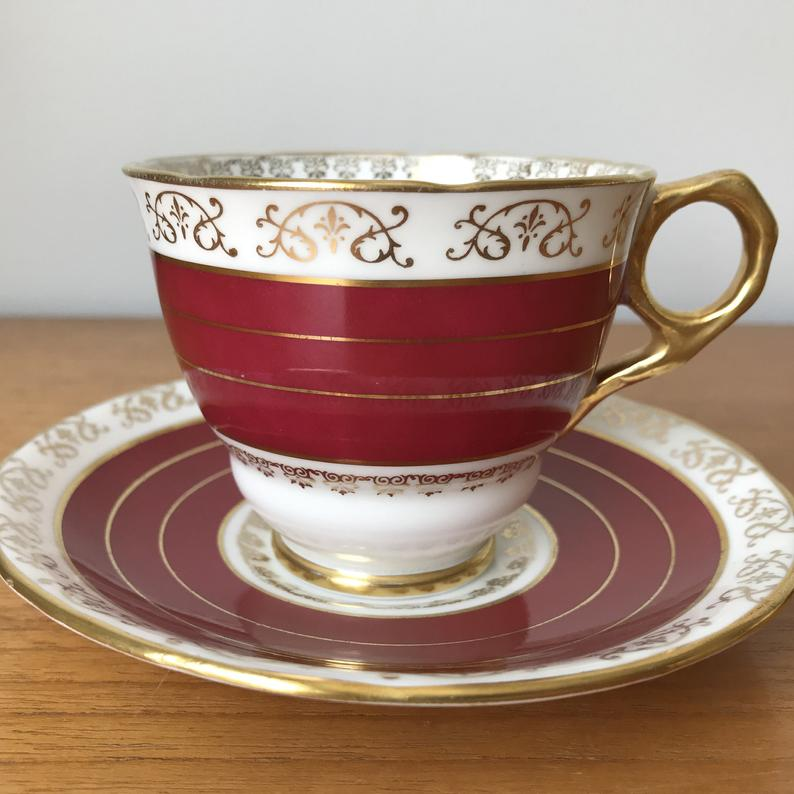 Red Stripes Tea Cup and Saucer, Vintage Royal Stafford Gold Teacup and Saucer Bone China