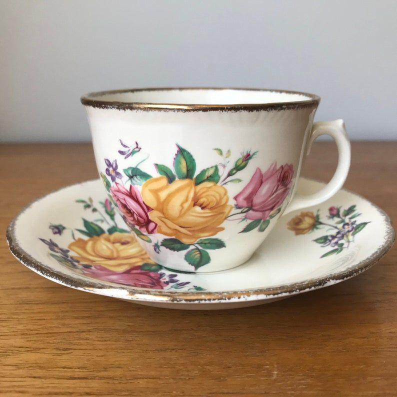 Ridgway Potteries Chateau Rose Cup and Saucer, Pink and Yellow Rose Ceramic Teacup and Saucer set