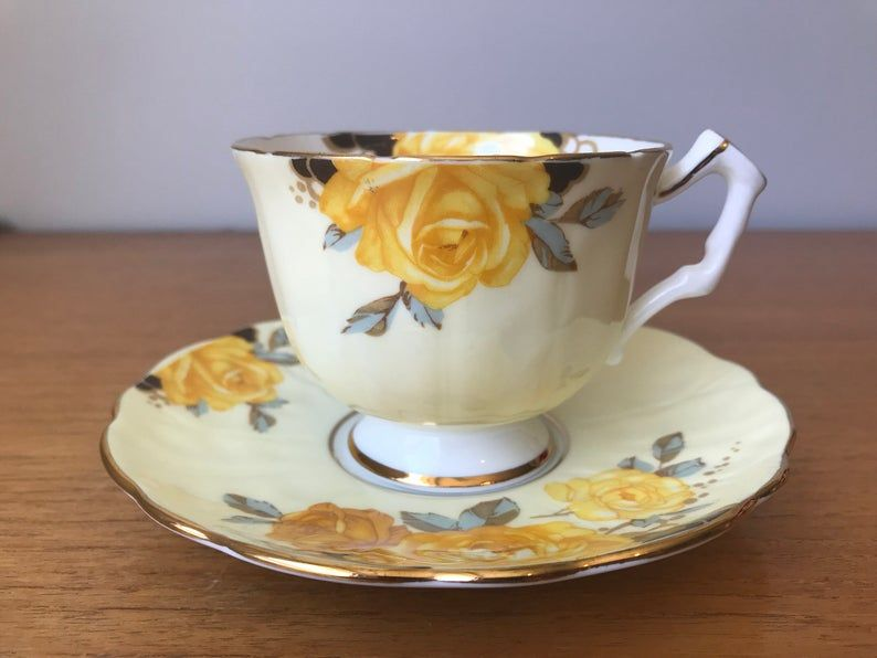 Rose Tea Cup and Saucer, Pale Yellow Aynsley Teacup and Saucer, Bone China, Garden Tea Party