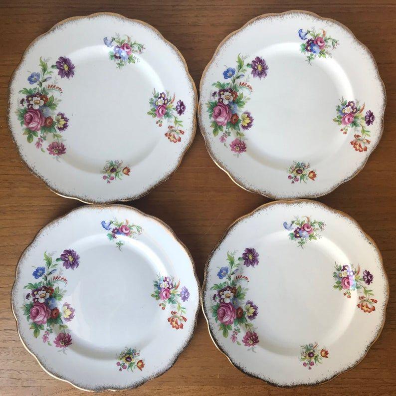 Roslyn China Plates, Minuet Flower Salad Plates, English Floral Bone China Dinnerware, 850225