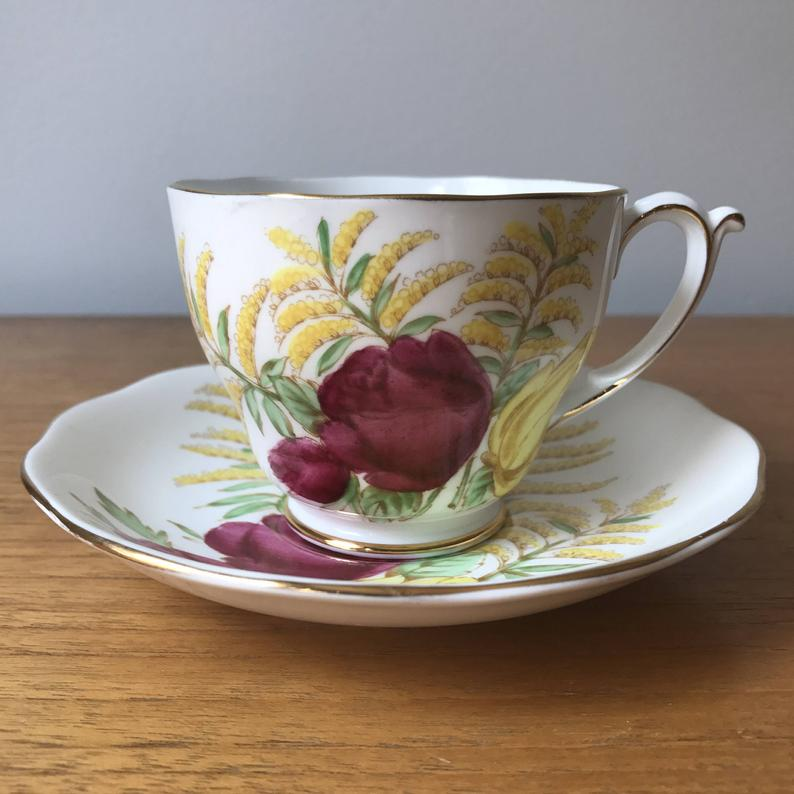 Roslyn Golden Days Hand Painted Tea Cup and Saucer, Dark Pink and Yellow Roses Teacup and Saucer, Bone China