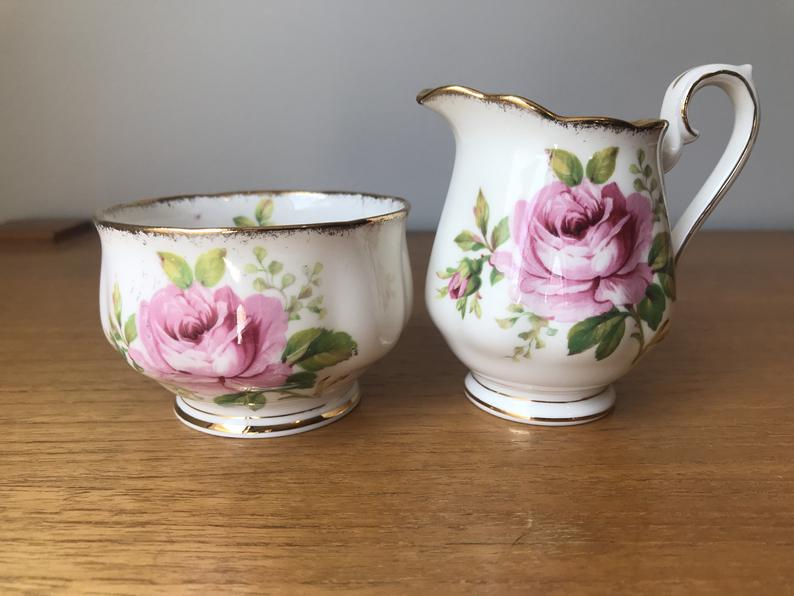 Royal Albert American Beauty Bone China, Vintage Cream and Sugar set, Pink Rose Creamer and Sugar Bowl, Milk Pitcher