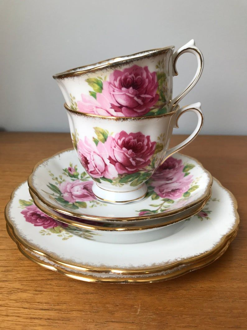 Royal Albert American Beauty Pink Rose Vintage Teacup Trios, Floral Tea Cups Saucers and Side Plates, English China, Tea for 2