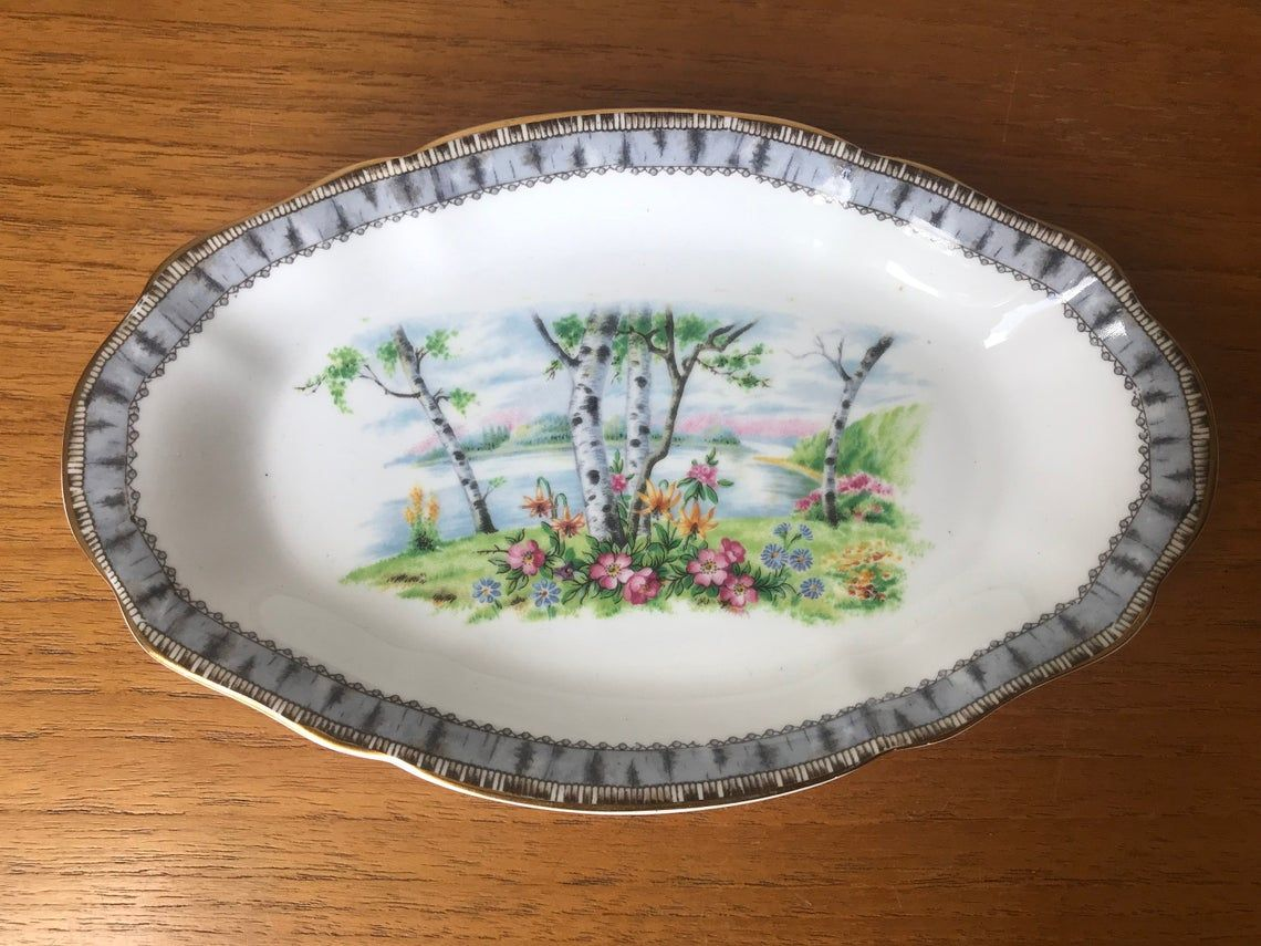 "Small China Dish, Royal Albert ""Silver Birch"" Relish Dish, Regal Tray, Fine Bone China Birch Trees Country Scene"