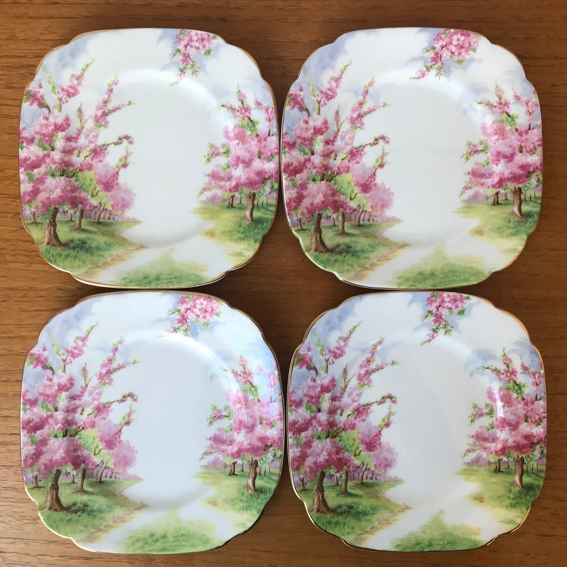 Royal Albert Blossom Time Vintage Square Side Plates, Pink Tree Dishes, Bone China, Bread & Butter Plates