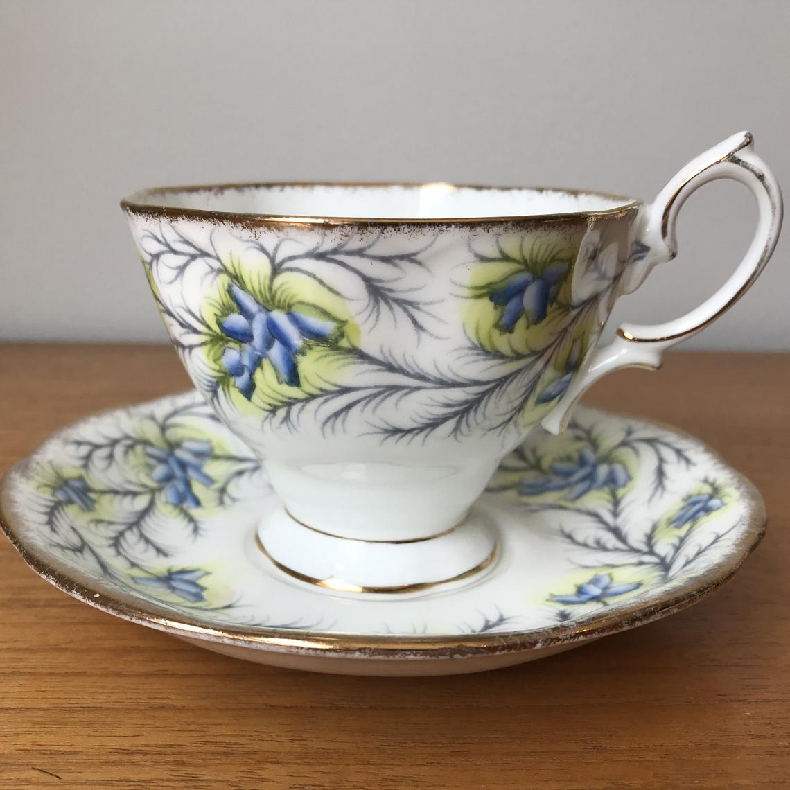"Bone China Tea Cup and Saucer, Royal Albert ""Heather Bell"" Teacup and Saucer, Blue Flowers 1940s"