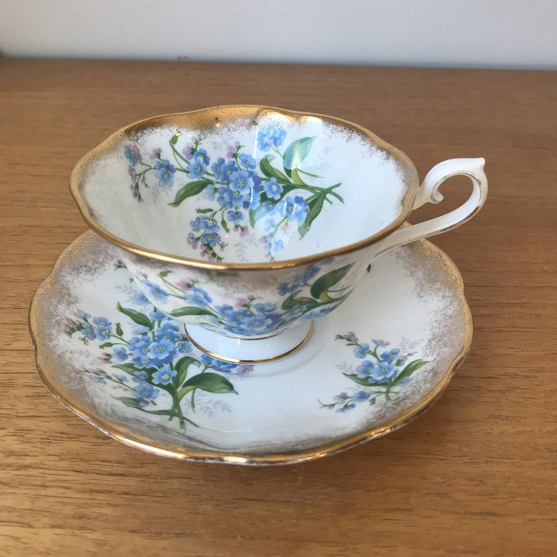 Royal Albert Tea Cup and Saucer, Blue Forget Me Not Flower Teacup and Saucer, Avon Shape Heavy Gold Bone China
