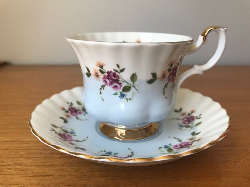 Royal Albert Blue and White Tea Cup and Saucer, Pink Roses and Yellow Daisies Bone China Teacup and Saucer, Pattern #4360