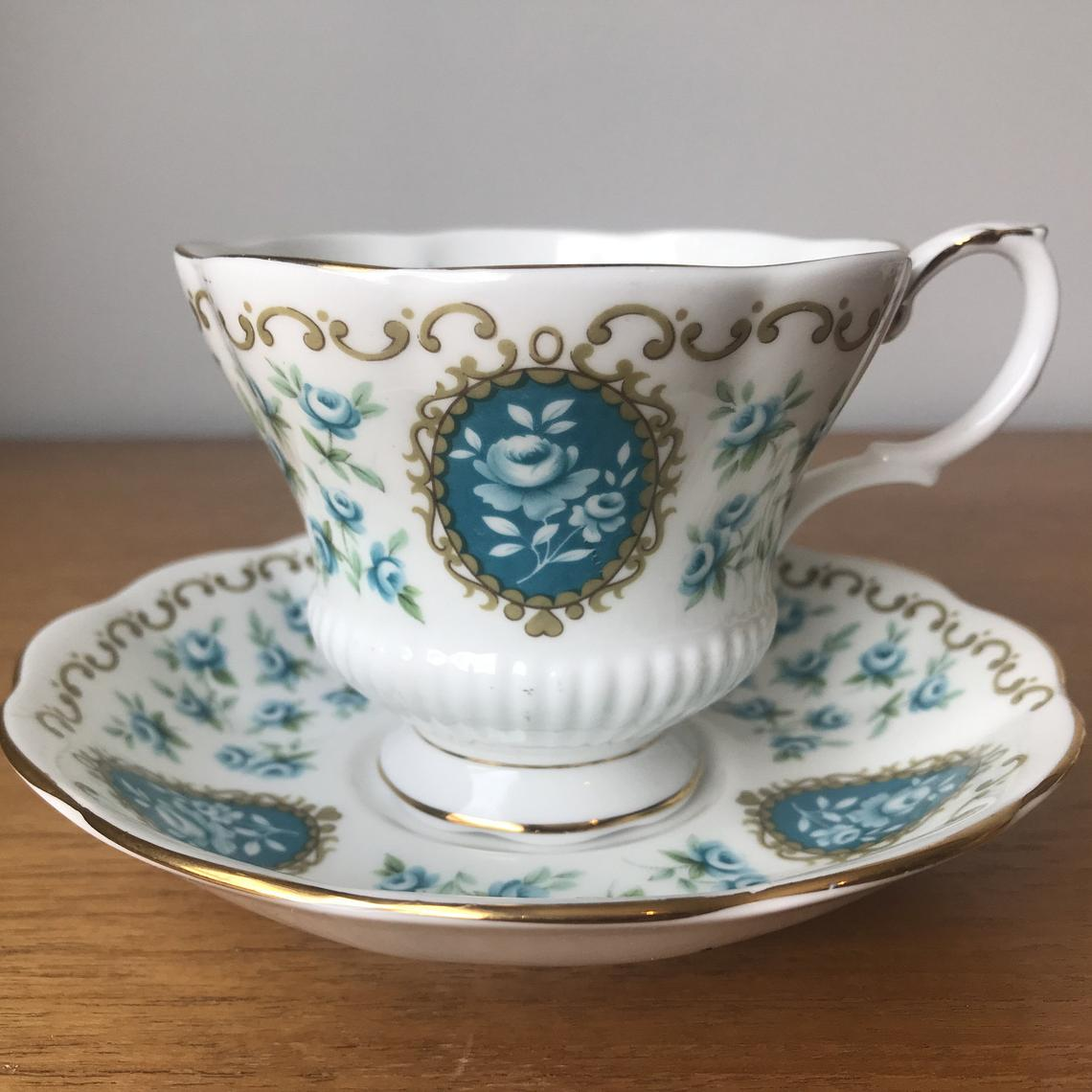 "Royal Albert Cameo Series ""Treasure"" Vintage Teacup and Saucer, Turquoise Rose Tea Cup and Saucer, Bone China"