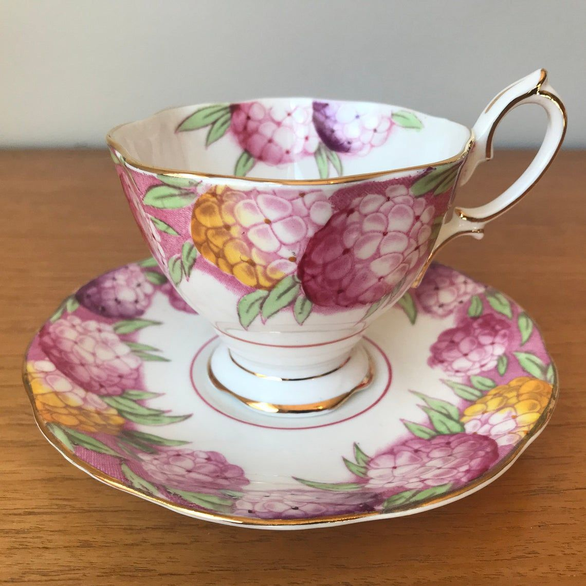 Royal Albert Candytuft Tea Cup and Saucer, Pink Purple and Yellow Flower Teacup and Saucer, English Bone China