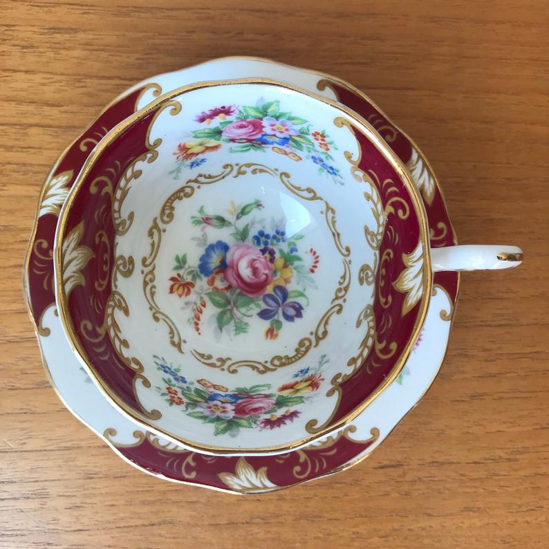 Royal Albert Canterbury Teacup and Saucer, Red Tea Cup and Saucer with Floral Bouquets and Yellow Scrolls, Fine Bone English China