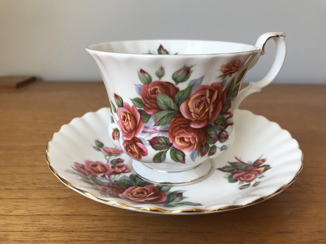 Royal Albert Centennial Rose Vintage Teacup and Saucer, Red Pink Orange Rose Tea Cup and Saucer, English Bone China