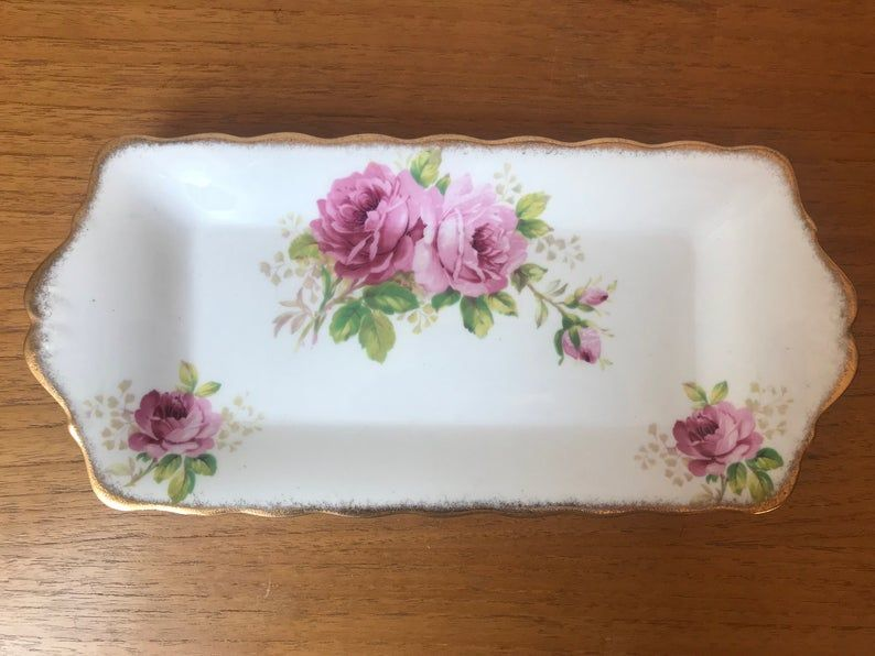 Royal Albert China American Beauty Serving Tray, Long Rectangle Dish, Sandwich Tray