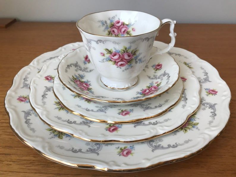 Royal Albert China Dishes, Tranquility Dinnerware Sets, Pink Roses Grey Swirls Tea Cup, Saucer, Side Plates, Salad Plates, Dinner Plates