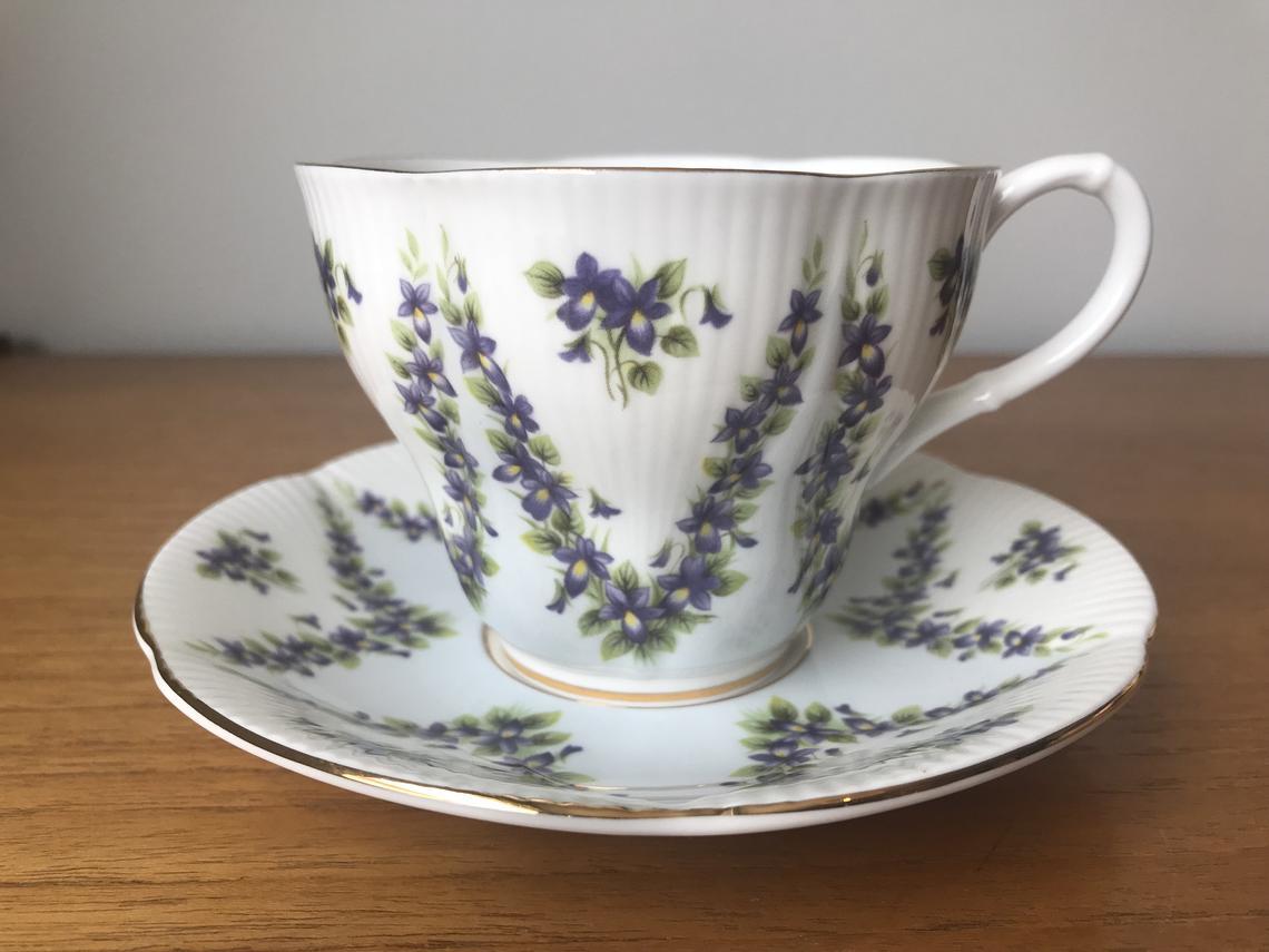 Royal Albert China Grey Chiffon Tea Cup and Saucer, Purple Violets Teacup and Saucer
