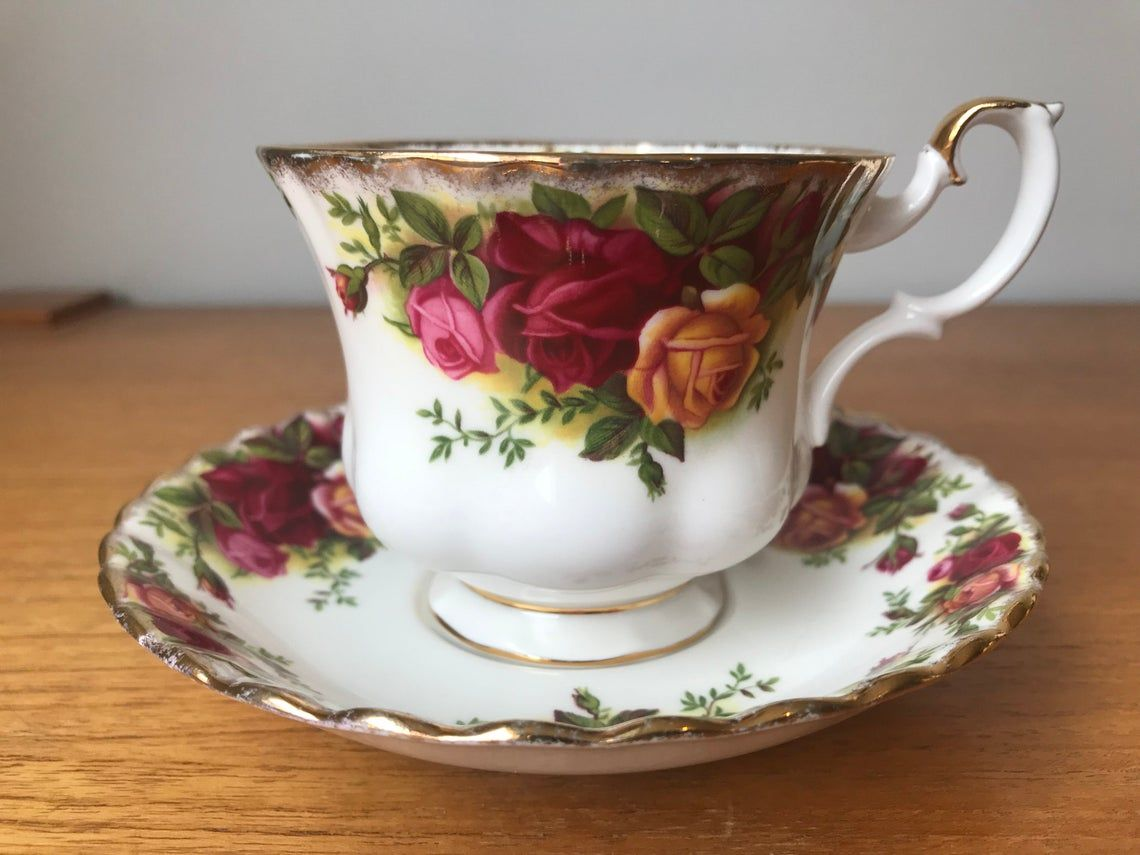 Royal Albert China Old Country Roses Vintage Teacup and Saucer, Pink, Red & Yellow Rose Tea Cup and Saucer