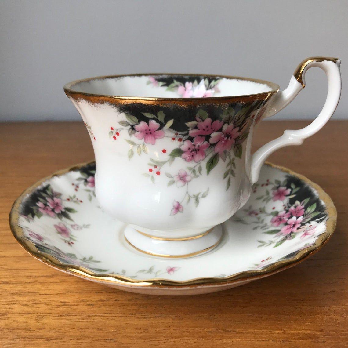 Royal Albert China Tea Cup and Saucer, Royal Choice Series Balmoral Teacup and Saucer, Black Pink and Gold