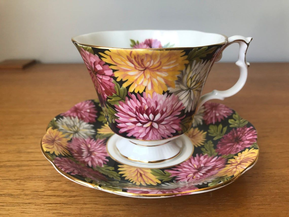 Royal Albert Christine Tea Cup and Saucer, Pink White and Yellow Chrysanthemums Black Teacup and Saucer, Bone China