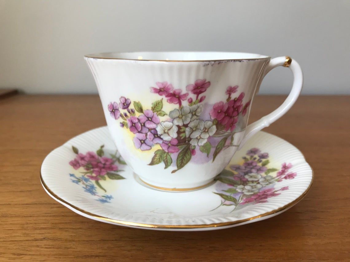 Royal Albert Dainty Shape Tea Cup and Saucer, Vintage Flower Teacup and Saucer, Floral Bone China