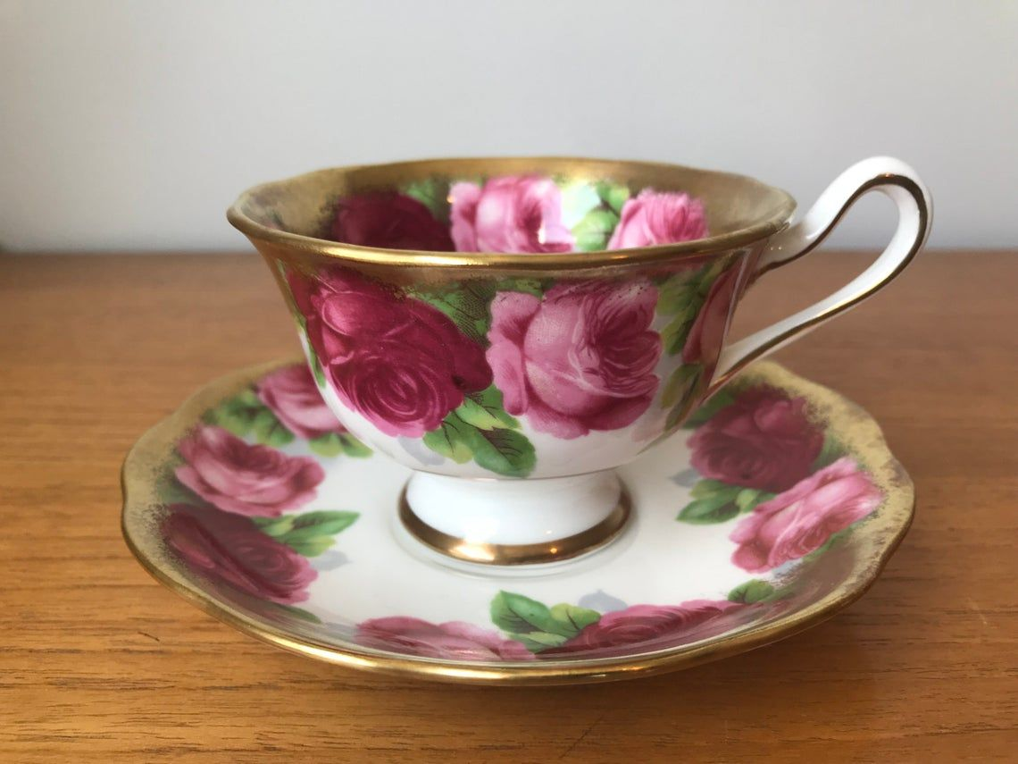 "Royal Albert ""Old English Rose"" Tea Cup and Saucer, Dark and Light Pink Rose Teacup and Saucer, Bone China"