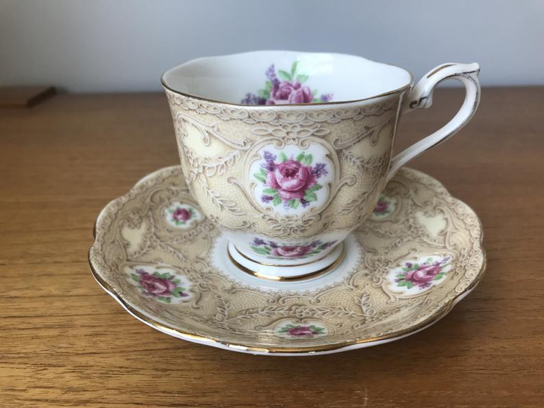 Royal Albert Devonshire Lace Tea Cup and Saucer, Brown Lace Pink Roses Lavender Flowers Teacup and Saucer, Crown China