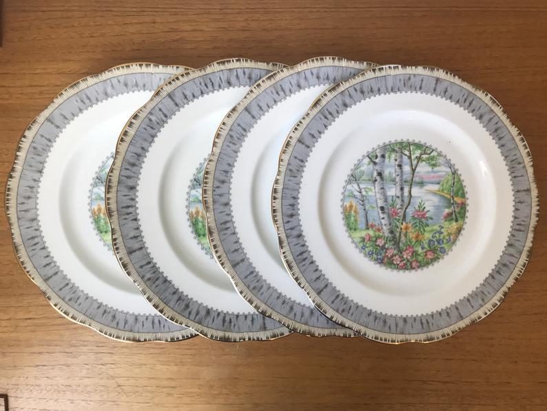 Royal Albert Dinner Plates, Silver Birch China Plates, Dinnerware, Dinner Party, Birch Trees Flowers Scene