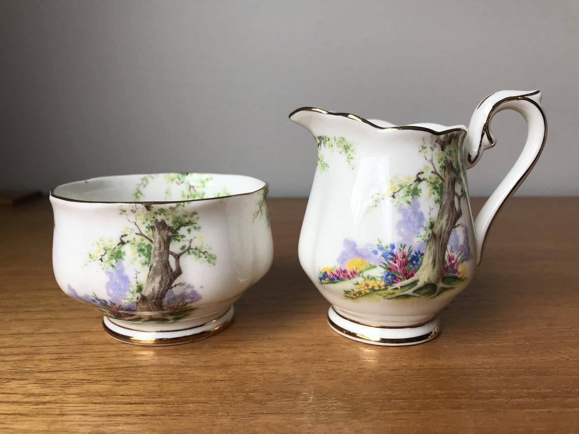 Royal Albert Greenwood Tree Cream and Sugar set, Vintage China Creamer and Sugar Bowl, Trees Flowers Nature Scene