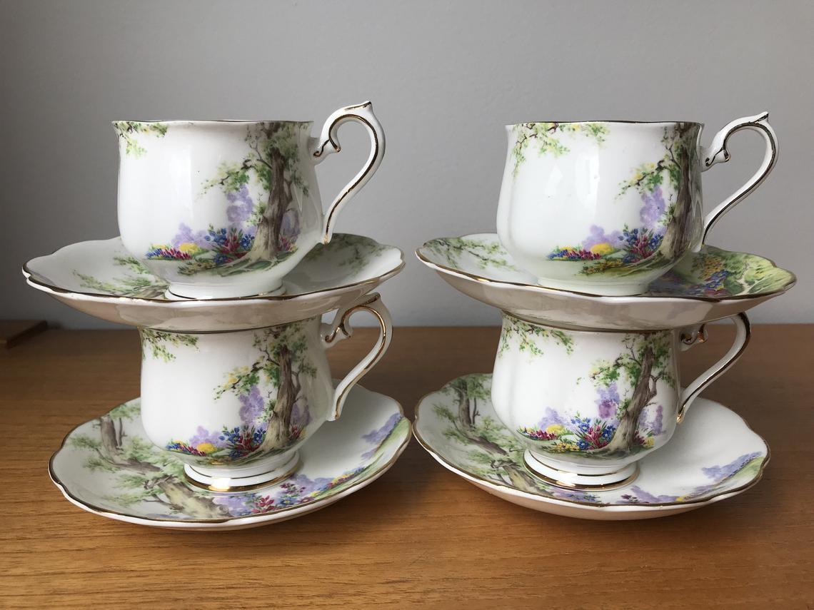 Royal Albert Greenwood Tree Tea Cups and Saucers, Vintage Bone China Tea Set, Green Trees Scenic Teacups and Saucers, Set of Four