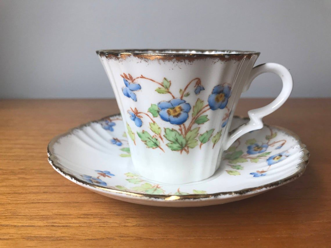 Art Deco 1930s Royal Albert Teacup and Saucer, Hand Painted Blue Pansy Tea Cup and Saucer, Crown China