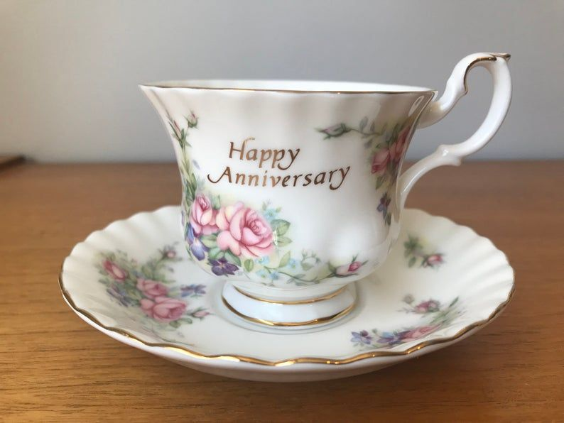 Royal Albert Happy Anniversary Teacup and Saucer, English Tea Cup and Saucer, Vintage Floral Bone China, Anniversary Gift Idea