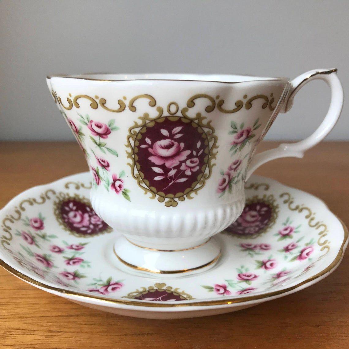 Royal Albert Keepsake Cameo Series Tea Cup and Saucer, Dark Pink Violet Rose Teacup and Saucer, Bone China