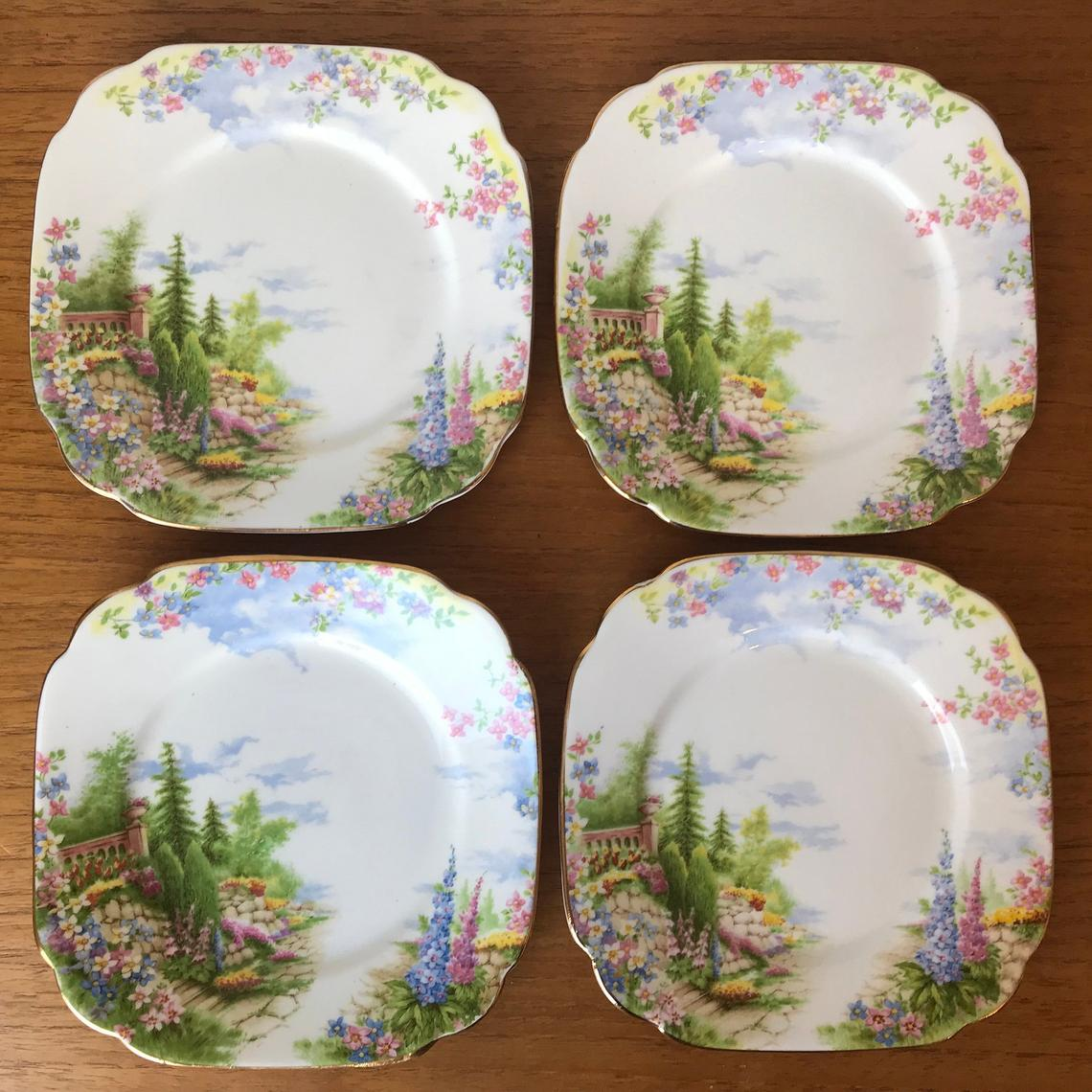 Royal Albert Kentish Rockery Bread and Butter Plates, Scenic Floral Side Plates, Fine Bone China Dishes Dinnerware
