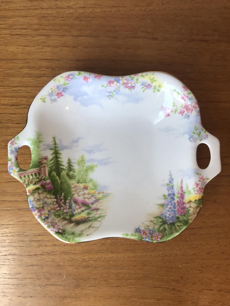 Royal Albert Kentish Rockery Candy Dish, Bone China Scenic Small Serving Bowl with Handles