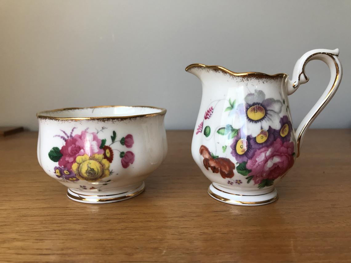 Royal Albert Lady Angela Vintage Cream and Sugar set, Pink Flower Creamer and Sugar Bowl, English Floral Bone China Milk Pitcher