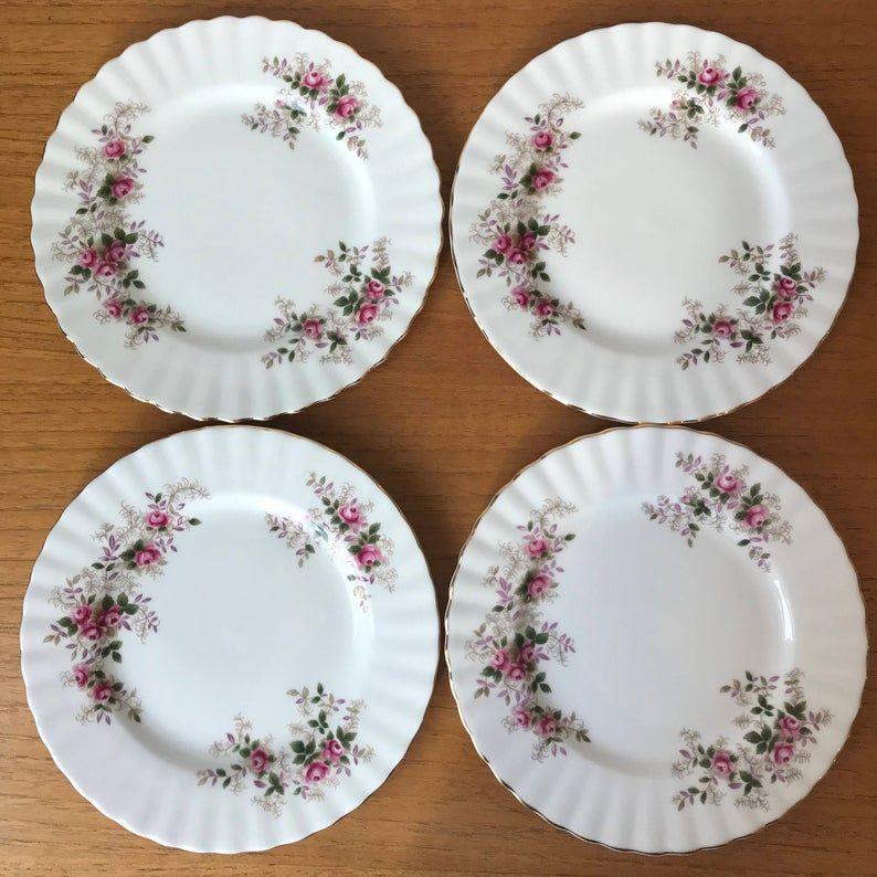 Royal Albert Lavender Rose Vintage Dessert Plates, Pink Rose Purple and Green Leaves Side Plates, Bone China, 7 inches