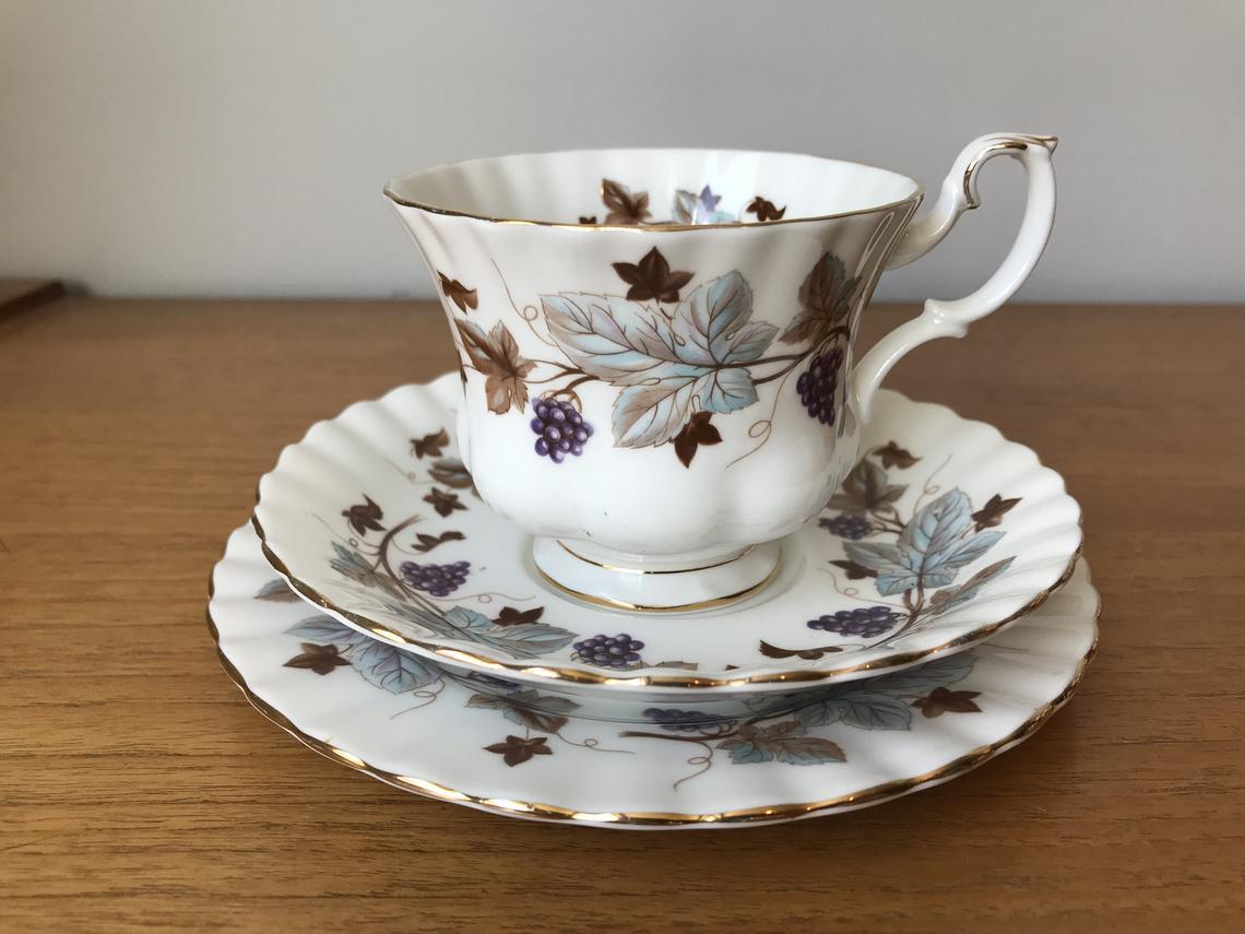 Royal Albert Lorraine Vintage Teacup Saucer and Plate, Purple Grapes Vines, Leaves Tea Cup Trio, Fine Bone China