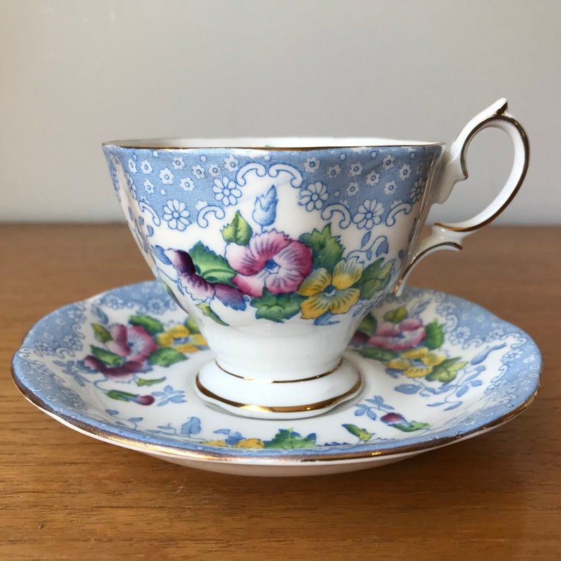 Royal Albert Lovelace Vintage Tea Cup and Saucer, Blue Lace with Pink Purple and Yellow Flower Teacup and Saucer, Bone China