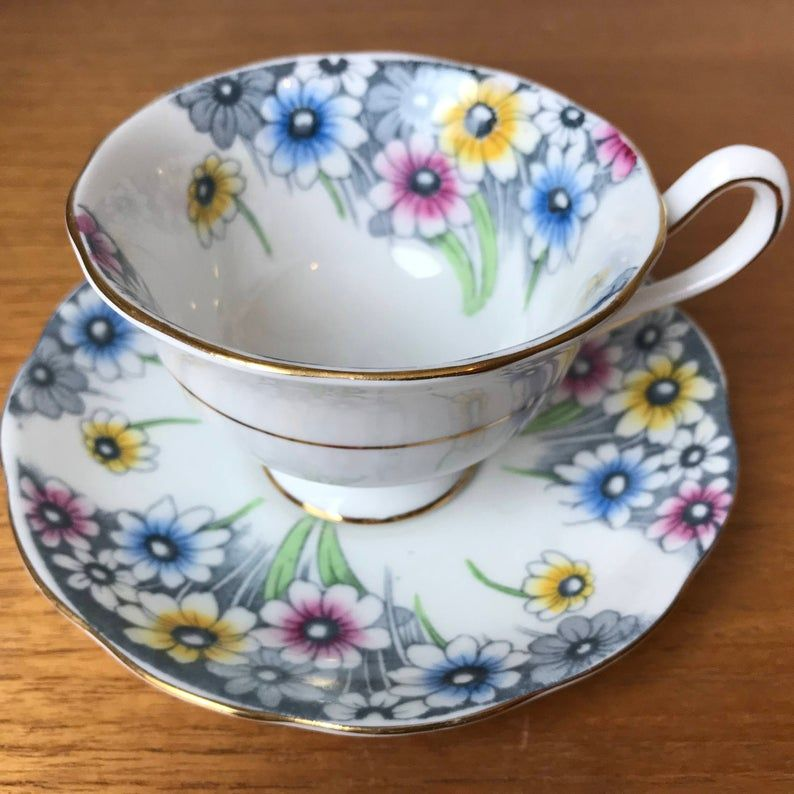 Royal Albert Maryland Yellow, Pink, Blue and Grey Daisy Vintage Teacup and Saucer, English Floral Tea Cup and Saucer, Bone China, 1950s