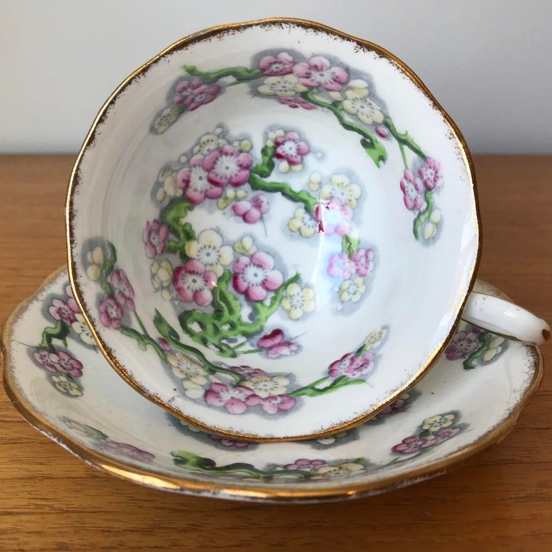 Royal Albert May Blossom Tea Cup and Saucer, Hand Painted Pink Floral Teacup and Saucer, Vintage Bone China