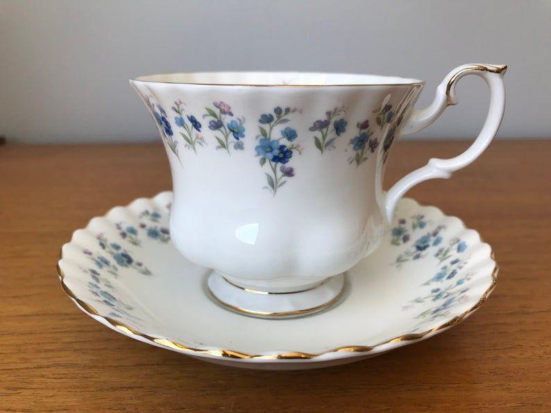 Royal Albert Memory Lane Vintage Teacup and Saucer, Blue Flower Garland Tea Cup, Floral English Bone China, Garden Tea Party