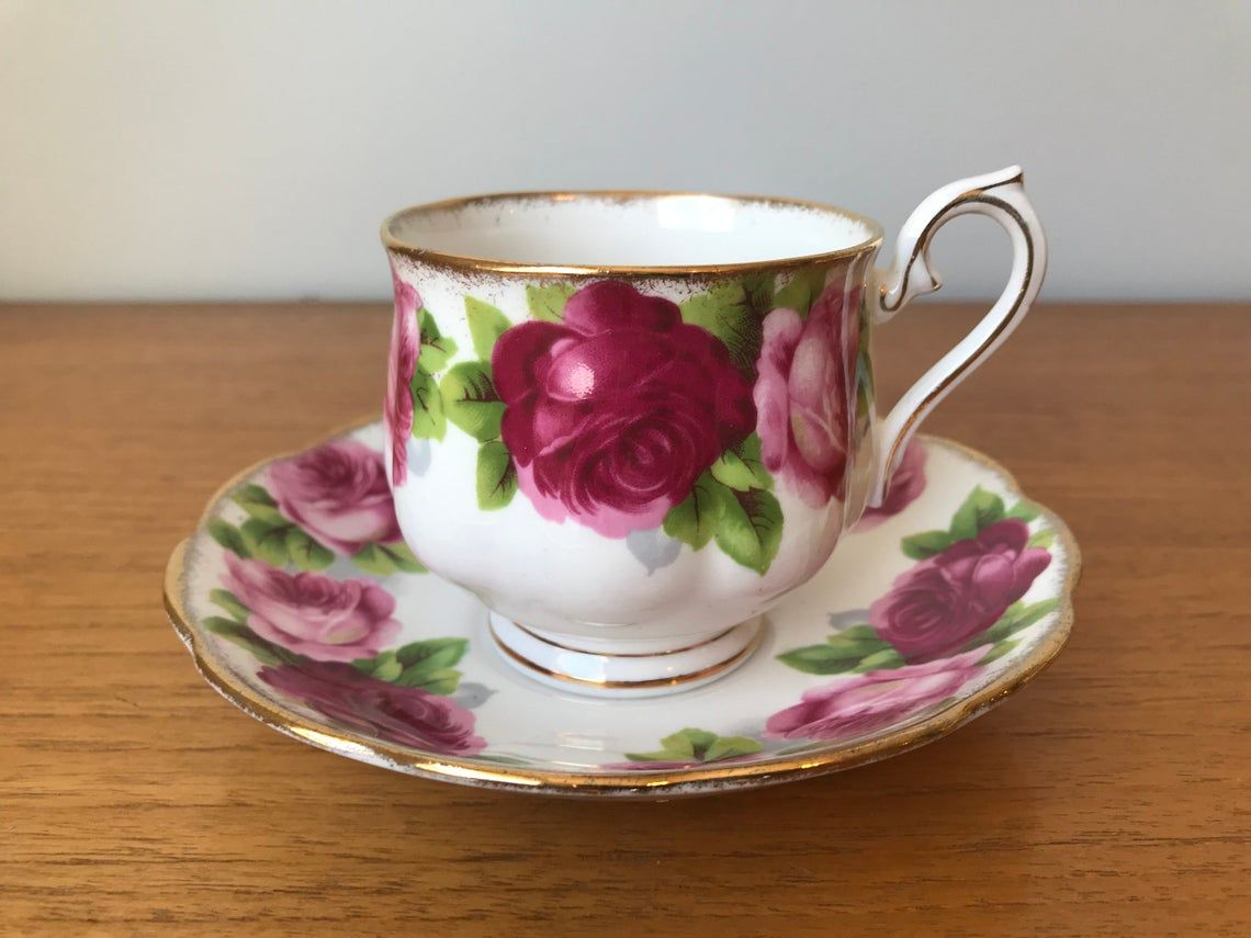 "Royal Albert ""Old English Rose"" Tea Cup and Saucer, Dark and Light Pink Roses Vintage Teacup and Saucer, Bone China"